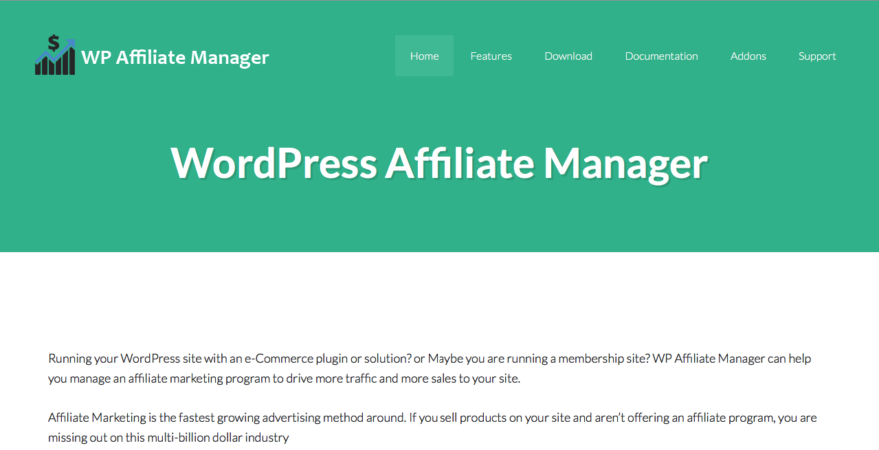 WP Affiliate Manager main home page.