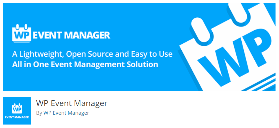 The WordPress event manager plugin banner