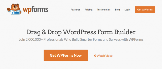 official homepage of wpforms