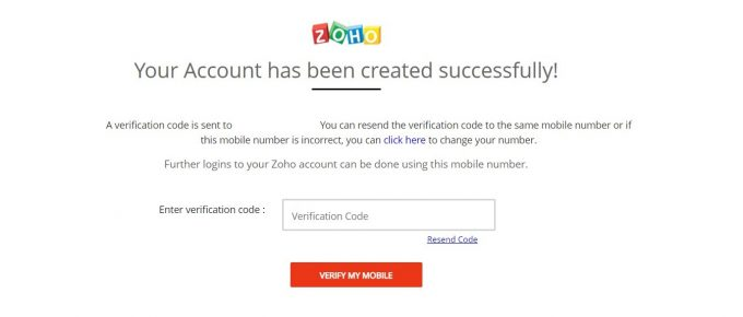 zoho will send the verification code to your mobile number