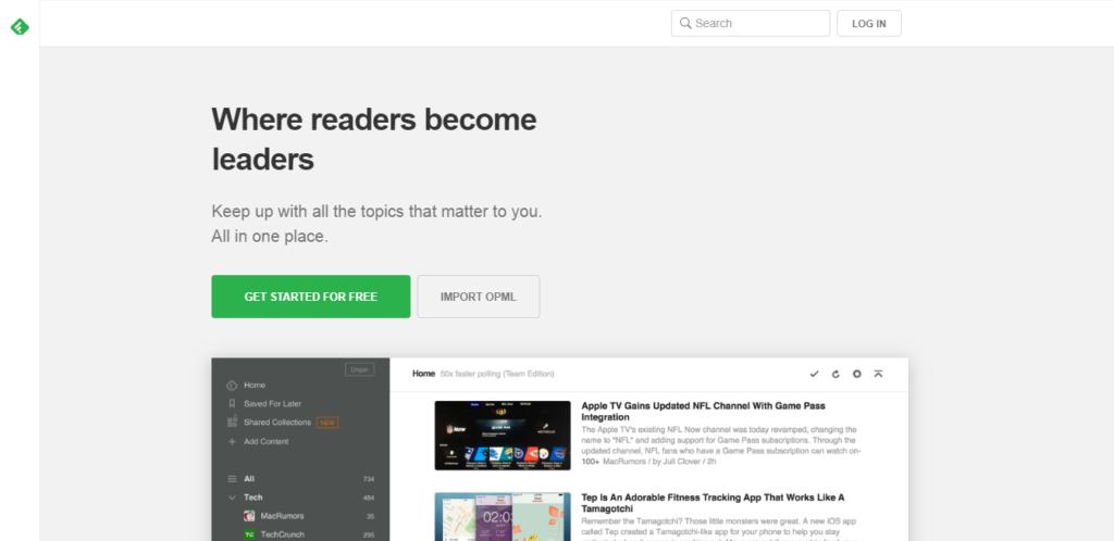 this image shows the Feedly blog reader banner