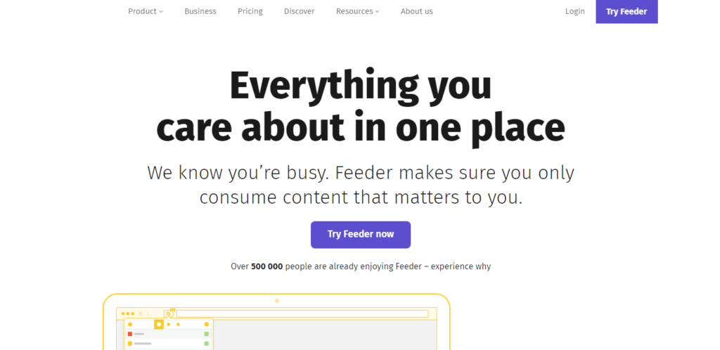 this image shows the Feeder blog reader