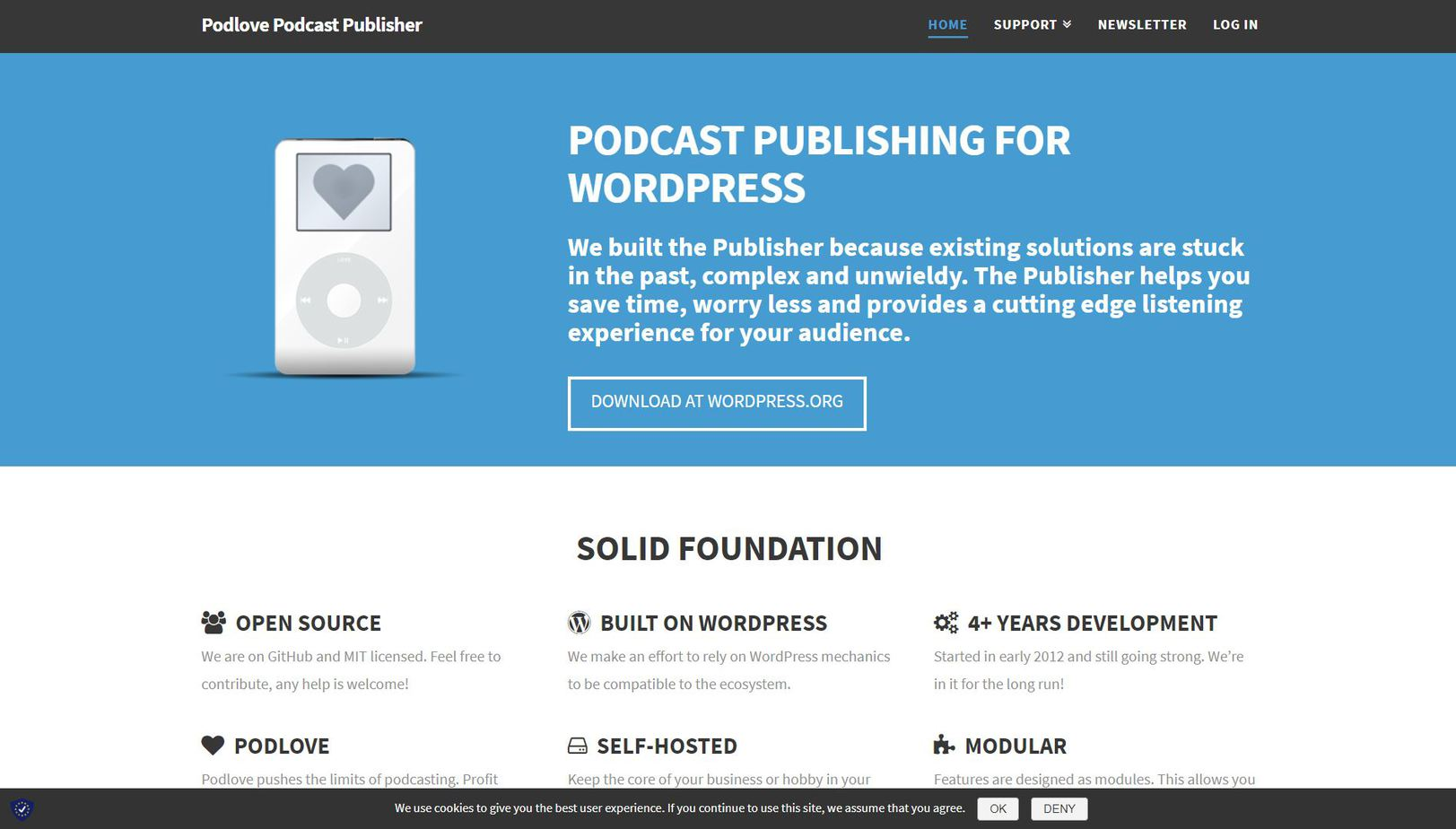 Podlove Podcast Publisher homepage.