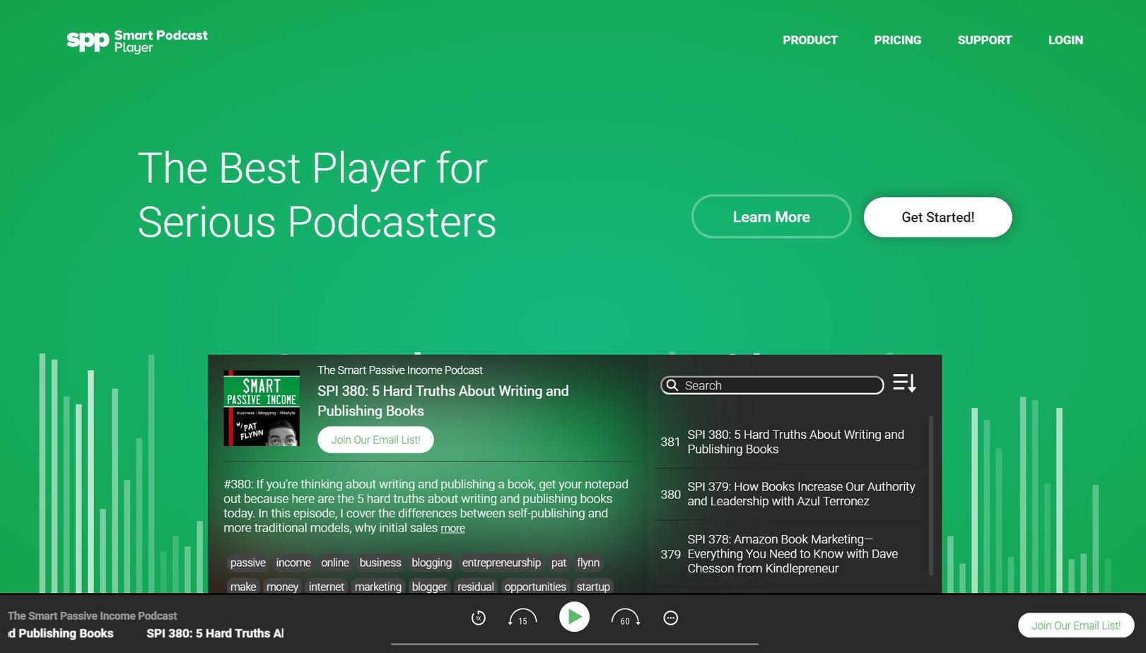 Smart Podcast Player homepage.