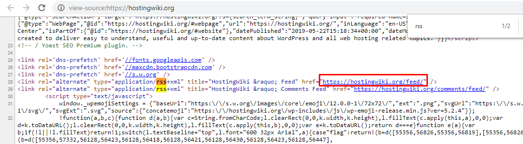 This image shows you a website's feed link within the page's source code