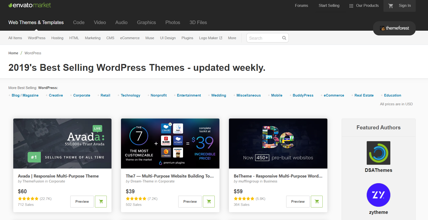 envato market wordpress themes page