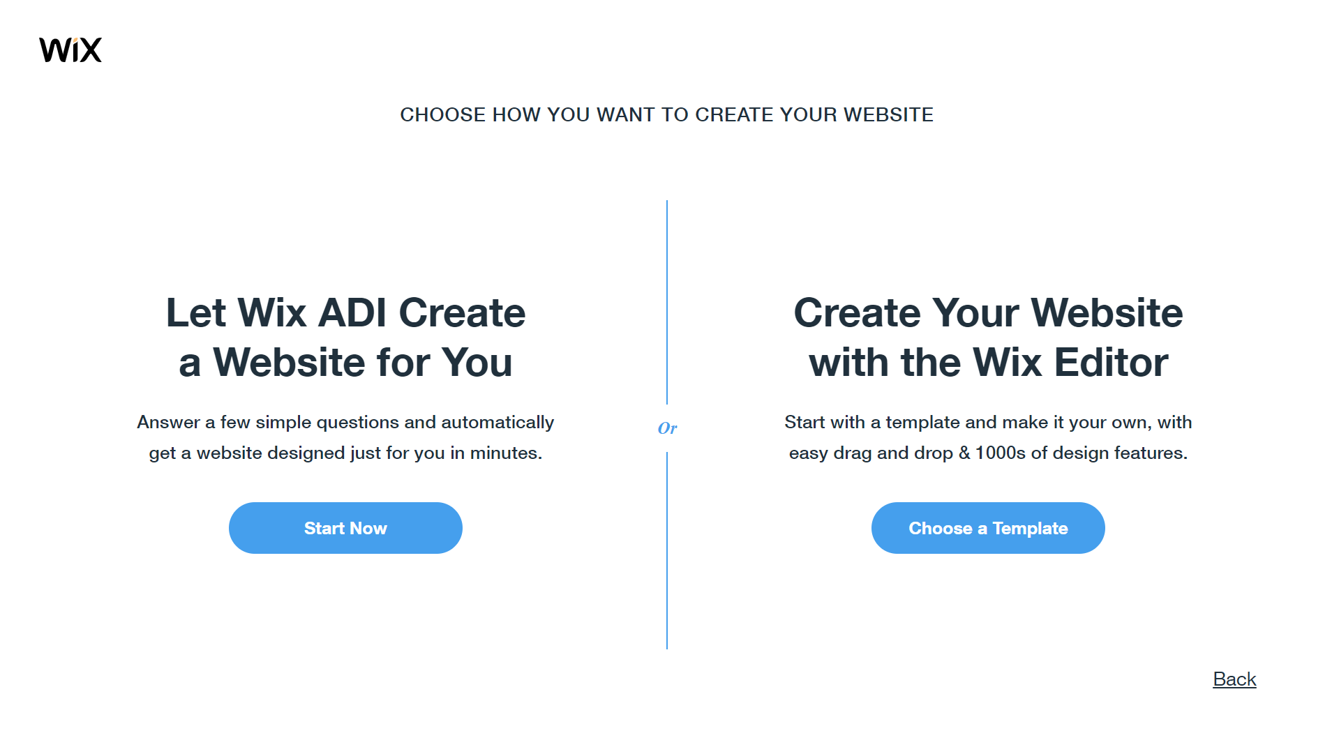 wix website creation choice page