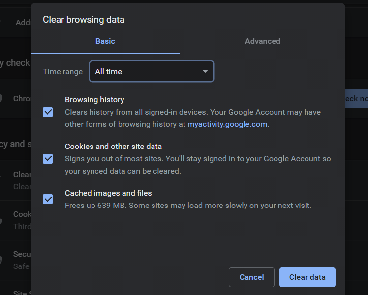 Clear browsing data tab in Google Chrome