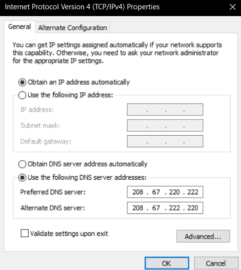 Inputting OpenDNS address in the IPv4 properties.