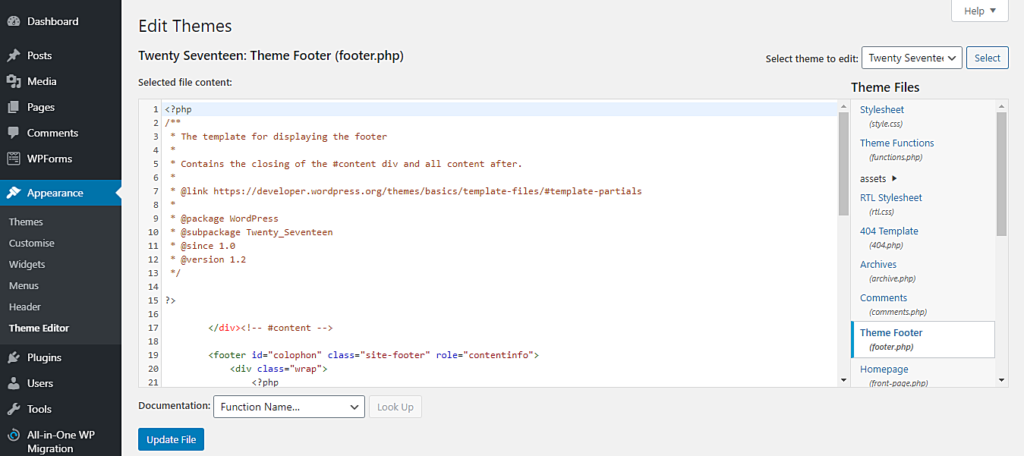 Editing the footer.php of the Twenty Seventeen theme