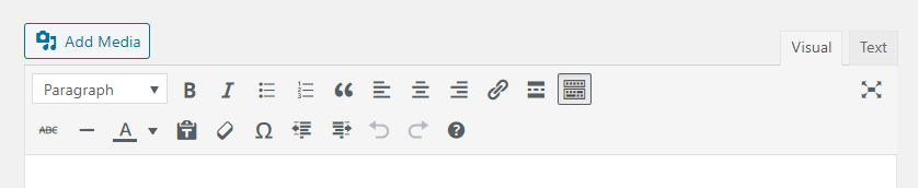 The toolbar in the WordPress text editor