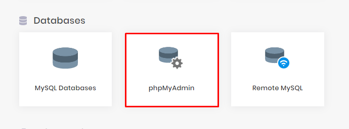hPanel with phpMyAdmin option highlighted