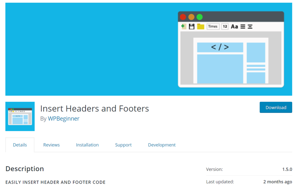 Insert Headers and Footers plugin