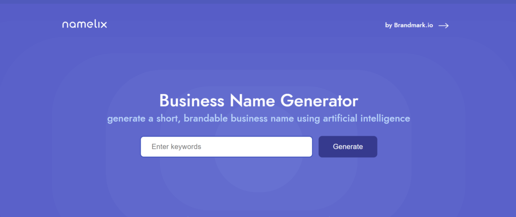 Namelix business name generator page