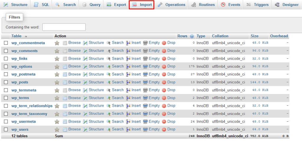 phpMyAdmin with import option highlighted