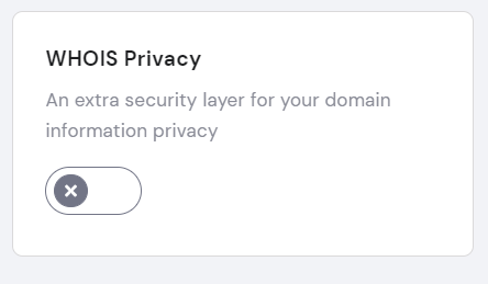 WHOIS privacy toggle switch