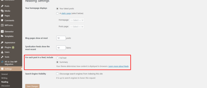 """WordPress dashboard reading settings with """"for each post include"""" section highlighted"""