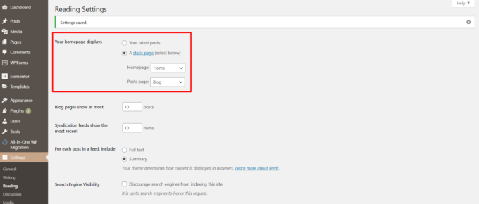 """WordPress settings dashboard with """"Your homepage displays"""" section highlighted"""