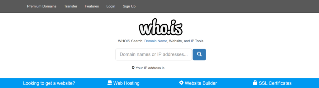 WHOIS Domain name or IP address search bar