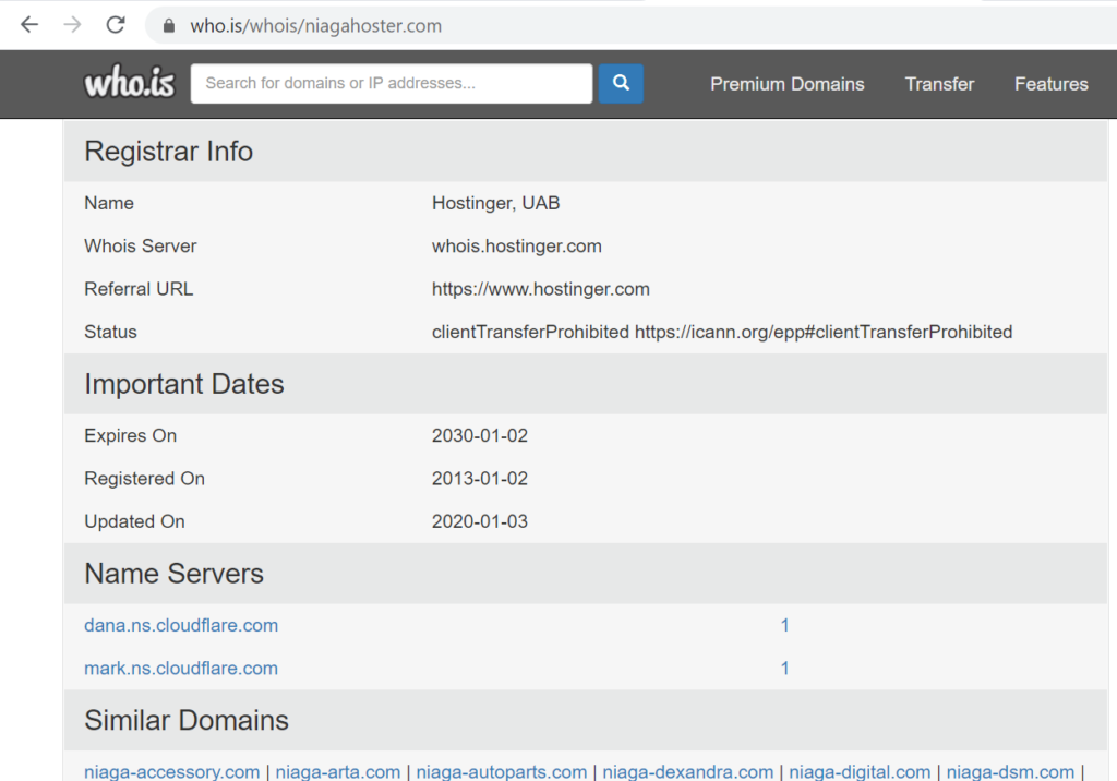 WHOIS domain name search results